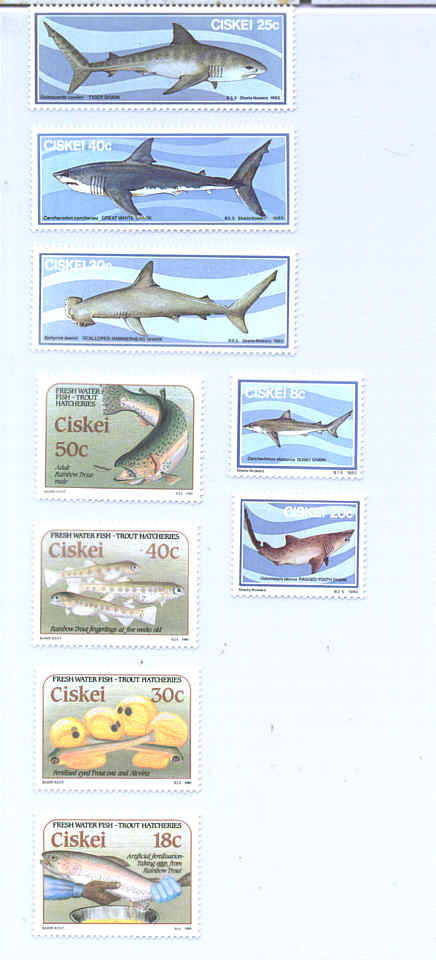 A Mint Stamp Collection of Fishes from Ciskei